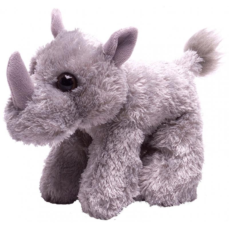 Pluche knuffel knuffeldier neushoorn grijs 18 cm