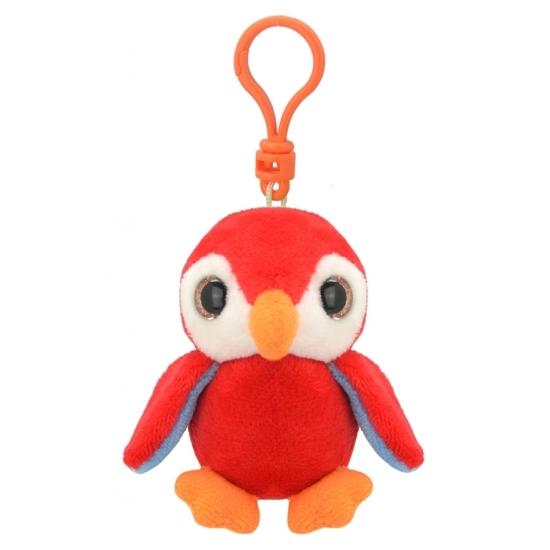 Pluche knuffel pinguin sleutelhanger rood 9 cm