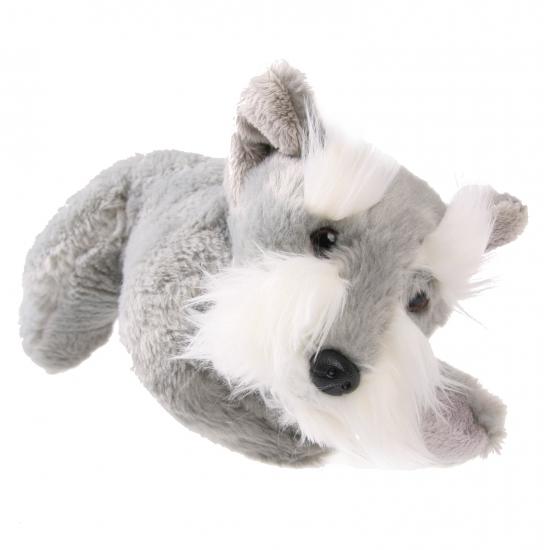 Pluche knuffel schnauzer hond grijs 25 cm