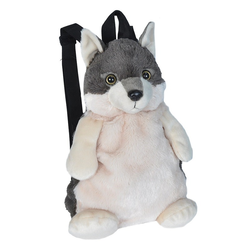 Pluche knuffel wolf kinder rugzak/rugtas 33 cm schooltas