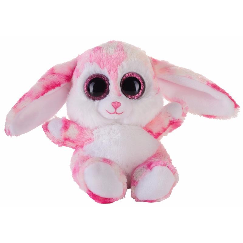 Pluche knuffeldier roze haas/konijn 15 cm