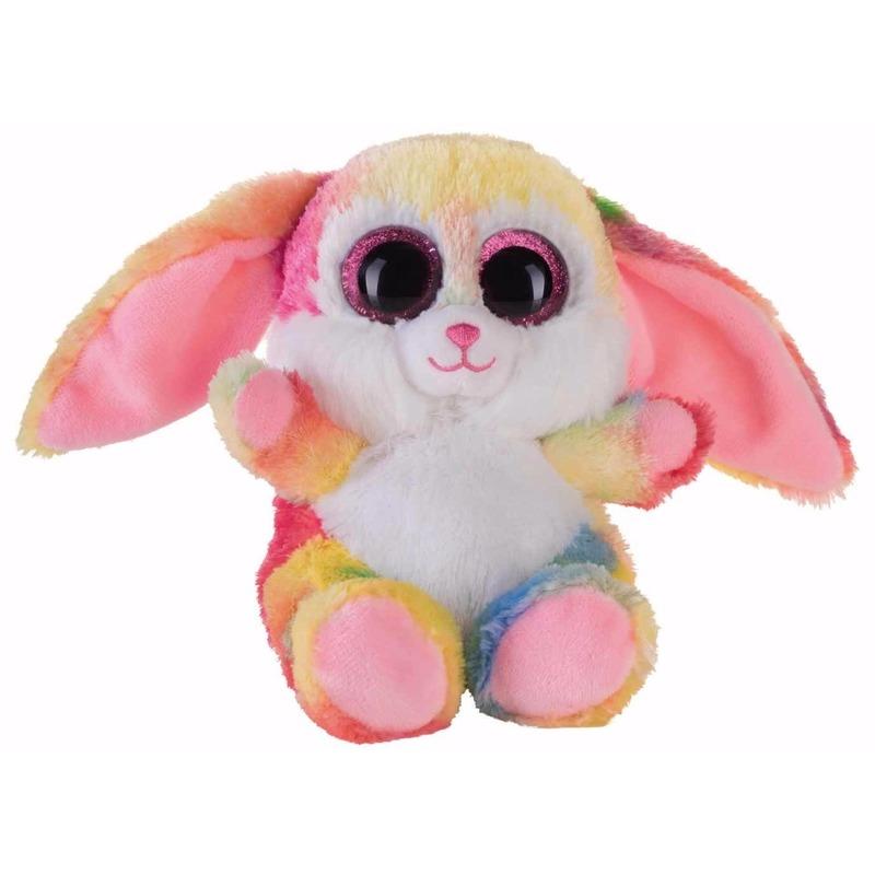 Pluche knuffeldier roze kleuren haas/konijn 15 cm