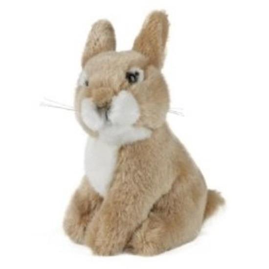 Pluche konijntje/haas bruin knuffel 16 cm knuffeldieren