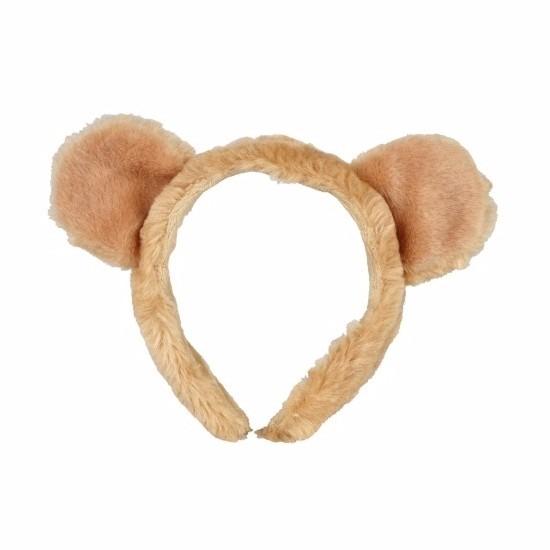 Pluche leeuwen hoofdband met oortjes 15 cm