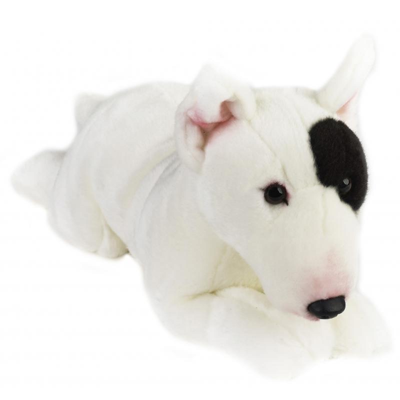 Pluche liggende Bullterrier hond 36 cm
