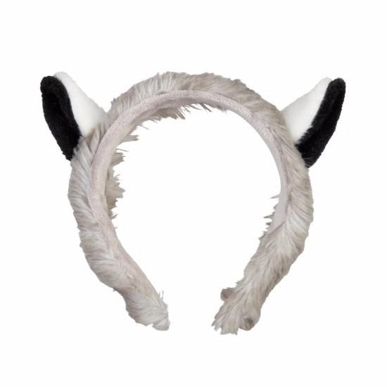 Pluche maki apen hoofdband met oortjes 15 cm