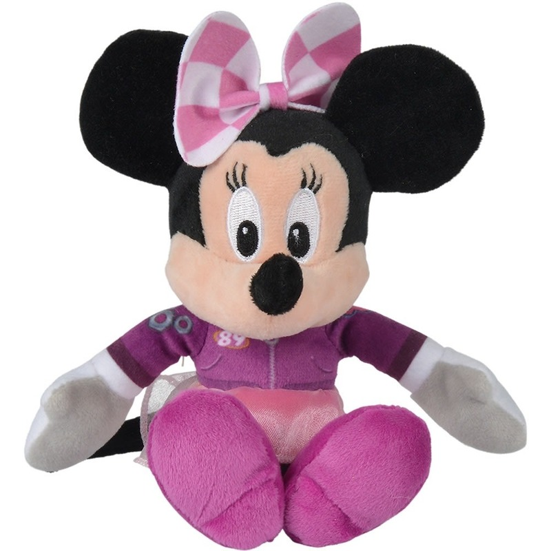 Pluche Minnie Mouse racing knuffels 18 cm