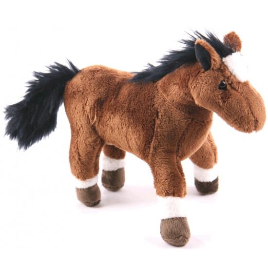 Pluche paardje bruin 19 cm