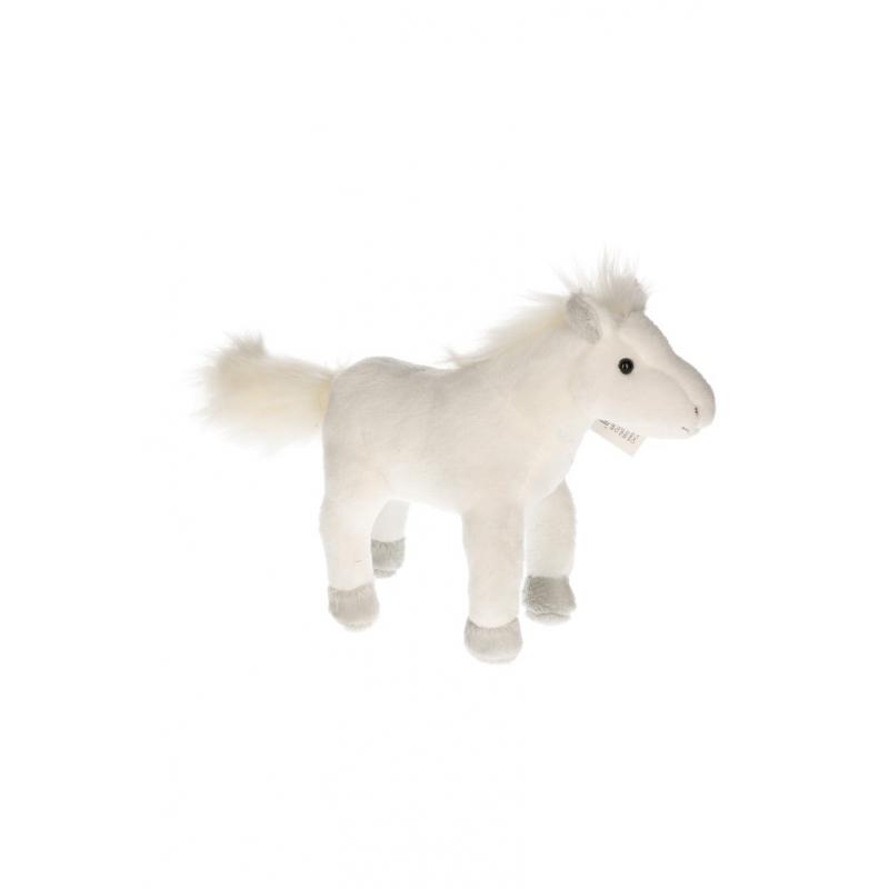 Pluche paardje wit 19 cm