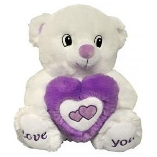 Pluche paars/witte beer knuffel Love You 31 cm
