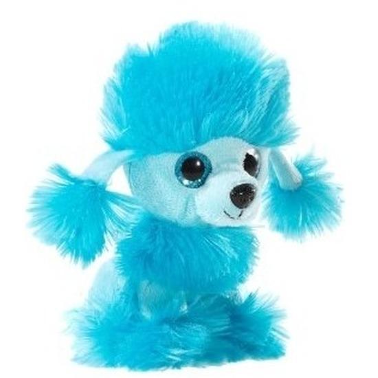 Pluche poedel honden knuffeltje blauw 15 cm