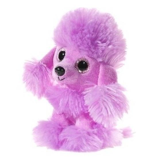 Pluche poedel honden knuffeltje paars 15 cm
