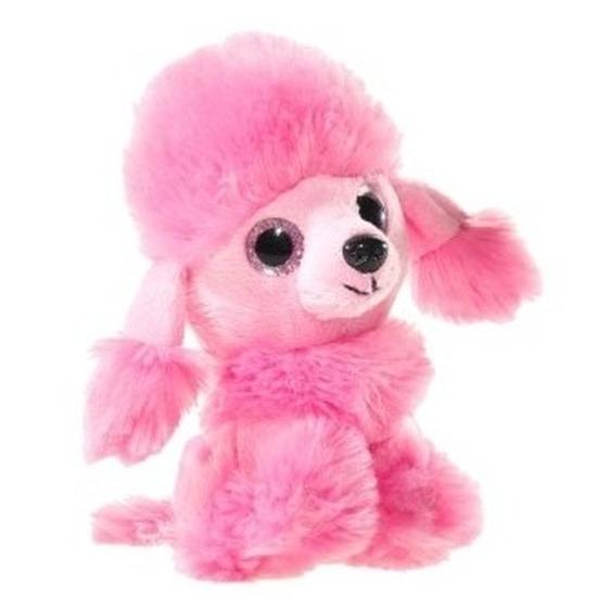 Pluche poedel honden knuffeltje roze 15 cm
