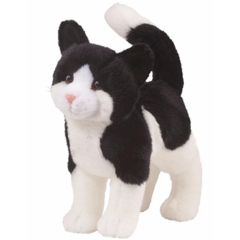 Pluche poes/kat knuffeldier zwart met wit