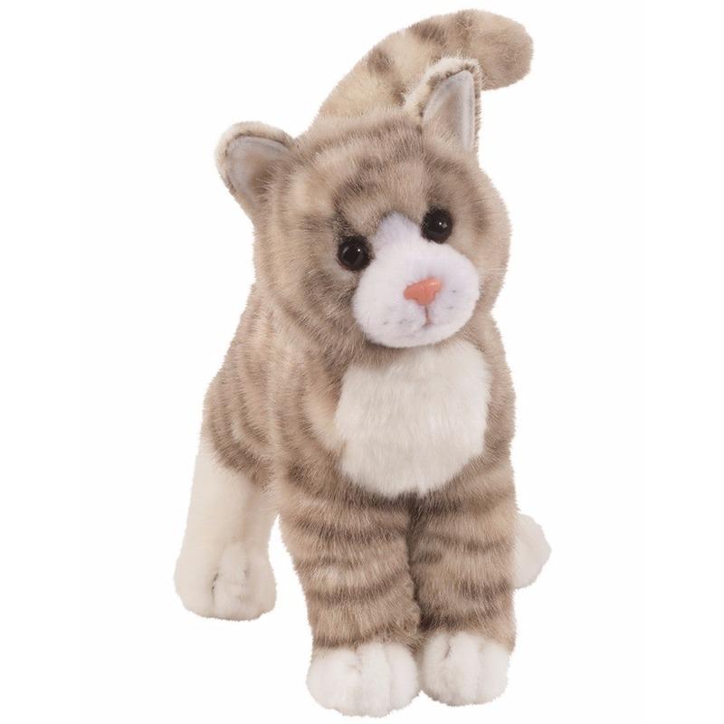 Pluche poes/katten knuffel met strepen grijs 30 cm