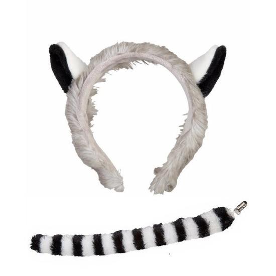 Pluche ringstaartmaki apen hoofdband met staart voor kinderen