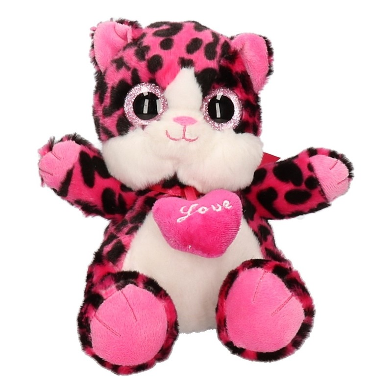 Pluche roze kat/poes knuffeldier 22 cm
