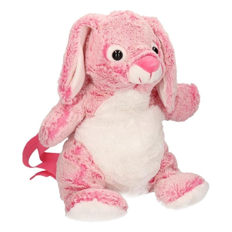 Pluche roze konijn/haas rugzak 20 x 36 cm