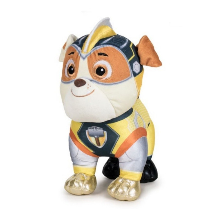 Pluche Rubble Paw Patrol Mighty Pups Super Paws knuffel hondje 19 cm