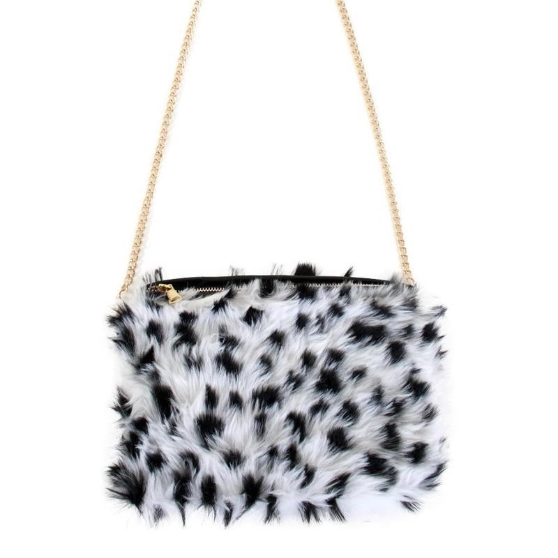 Pluche schoudertasje Dalmatier print voor dames