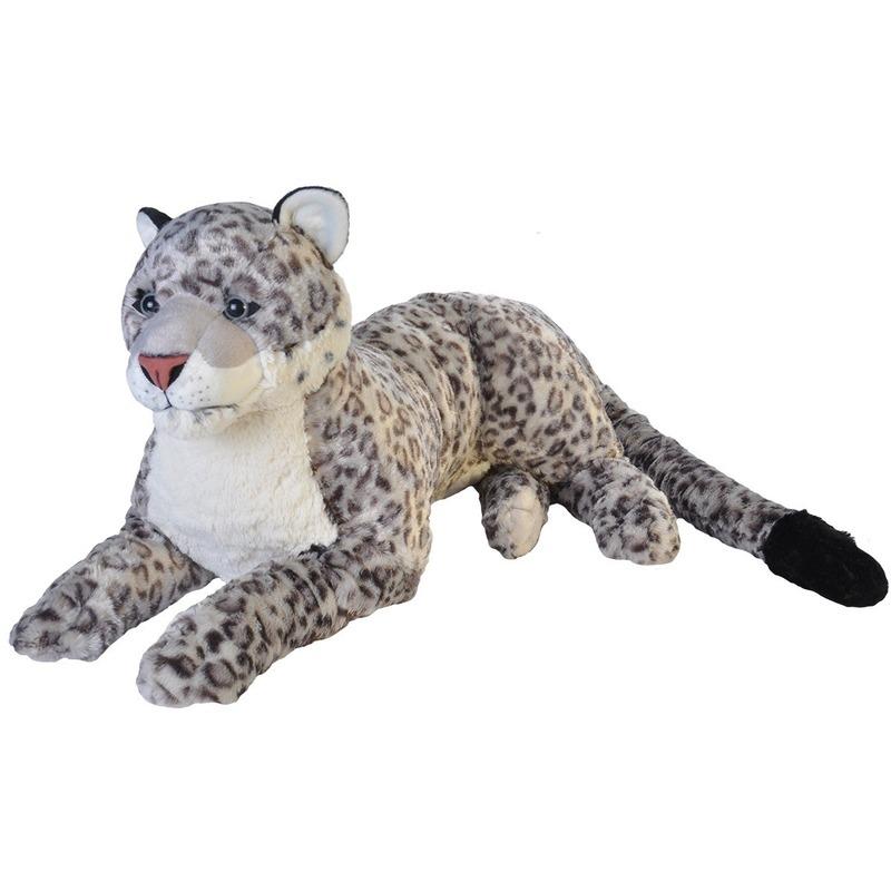 Pluche sneeuw luipaard grote dierenknuffel 76 cm