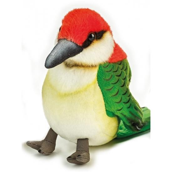 Pluche specht vogel 14 cm groen/rood