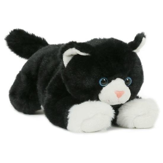 Pluche speelgoed poes/kat knuffeldier zwart/wit 25 cm