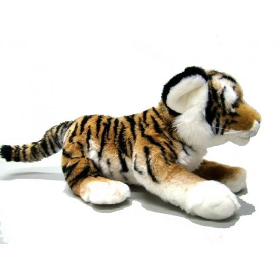 Pluche tijger knuffel liggend 30 cm