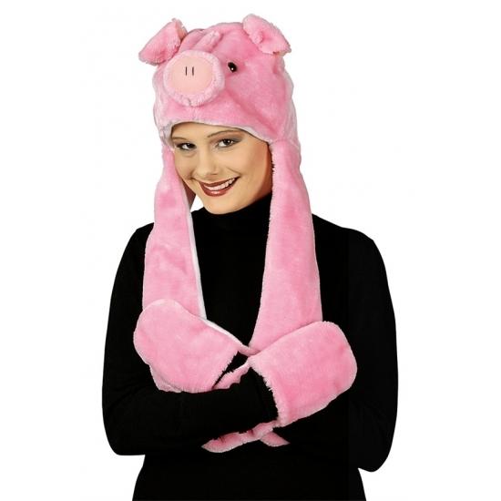 Pluche varken verkleed set voor volwassenen