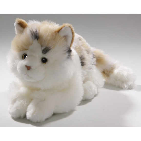 Pluche wit gevlekte kat/poes 26 cm