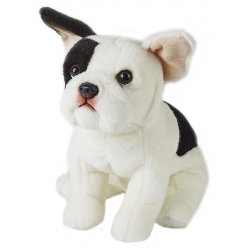Pluche zittende Franse Bulldog hond 23 cm