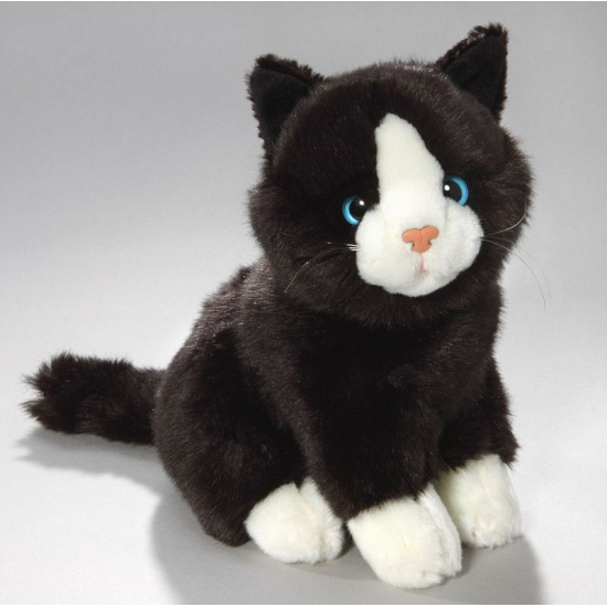Pluche zwart/witte kat/poes 23 cm