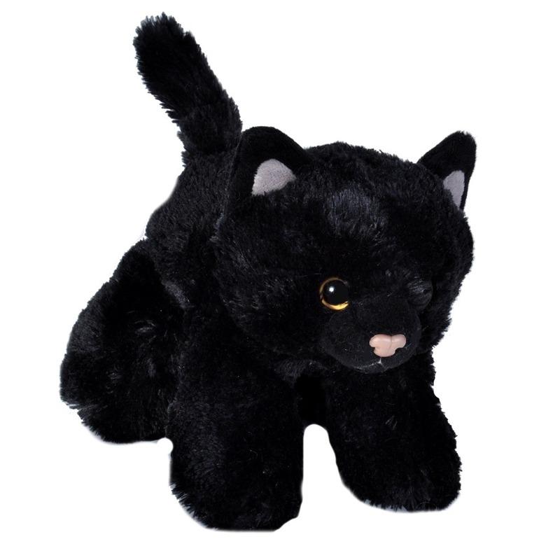 Pluche zwarte kat/poes dierenknuffel 18 cm