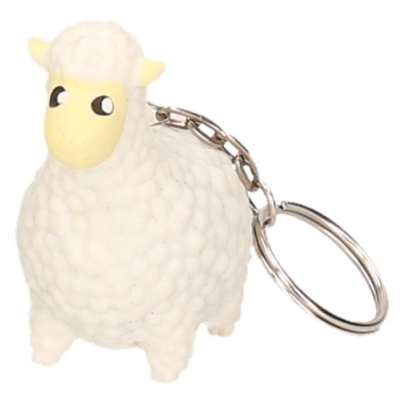 Poepende lama/alpaca sleutelhanger wit 9 cm