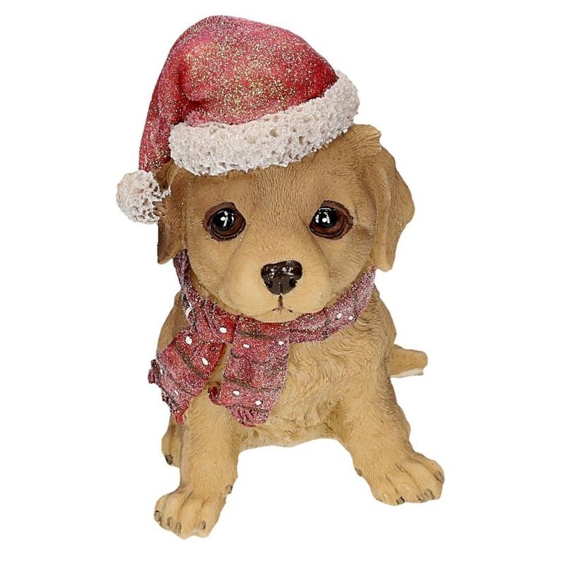Polystone Labrador met kerstmuts