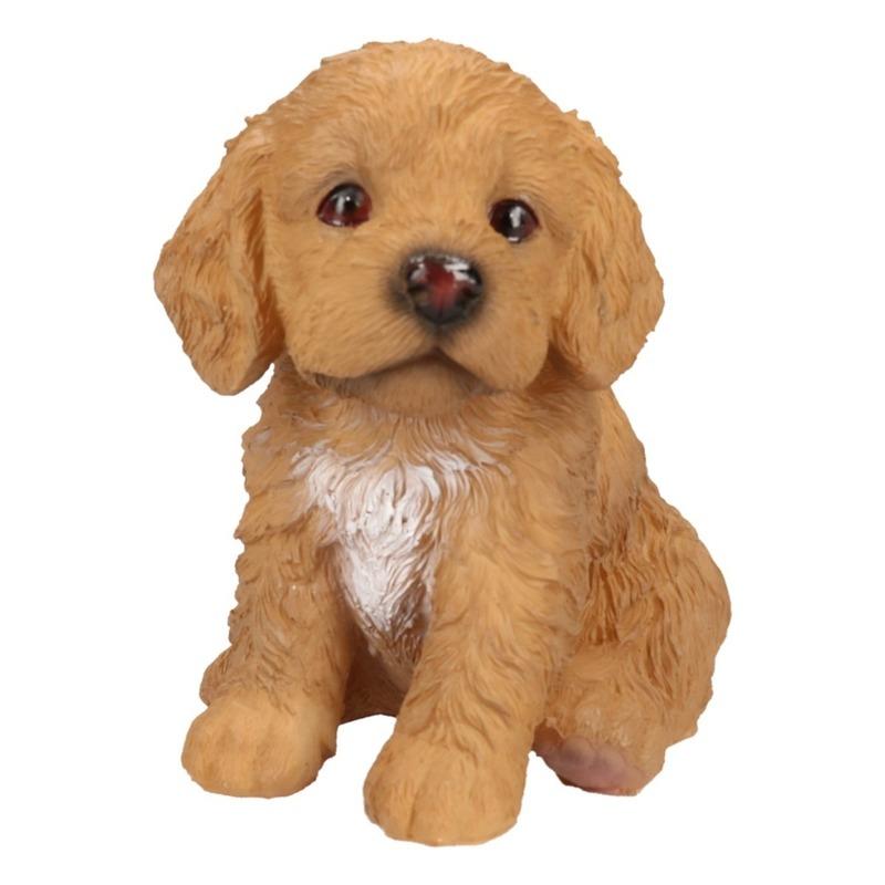Polystone tuinbeeld bruin Labradoodle puppy hondje 15 cm