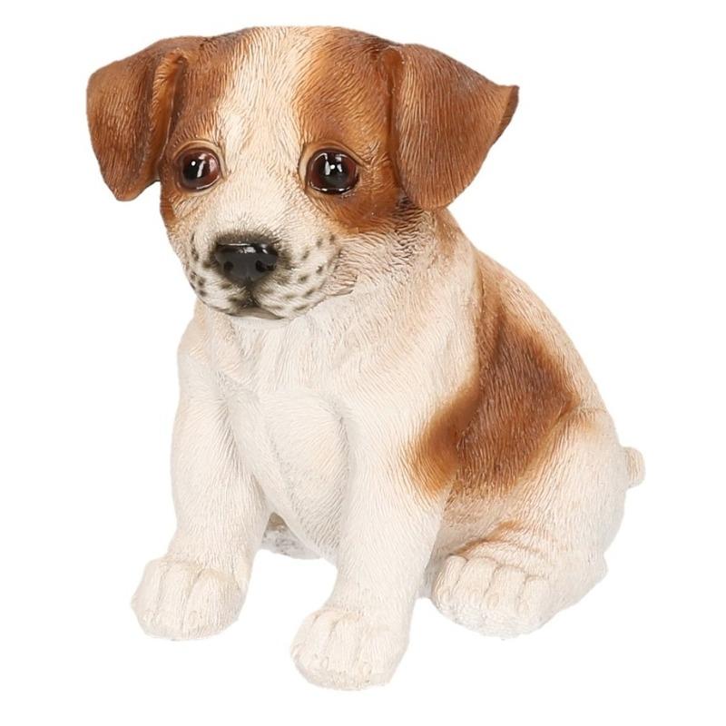 Polystone tuinbeeld bruin/wit Jack Russel puppy hondje 15 cm