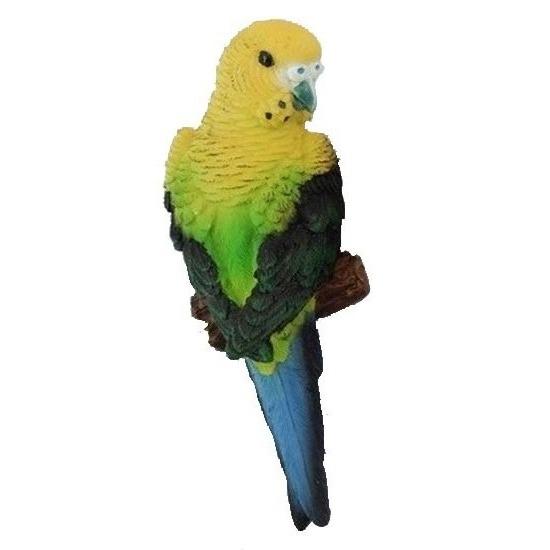 Polystone tuinbeeld geel/groene grasparkieten vogels 16 cm