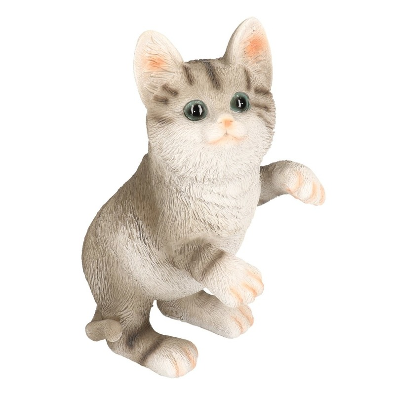 Polystone tuinbeeld grijze tabby katten/poezen kitten 24 cm