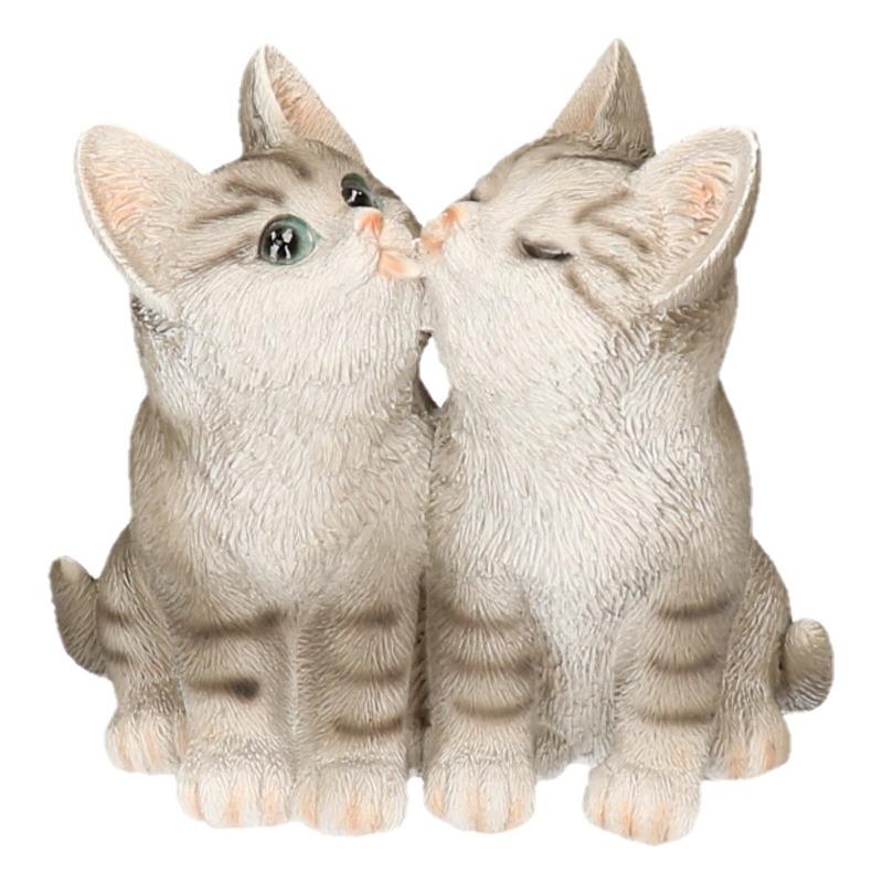 Polystone tuinbeeld grijze tabby katten/poezen kittens 20 cm