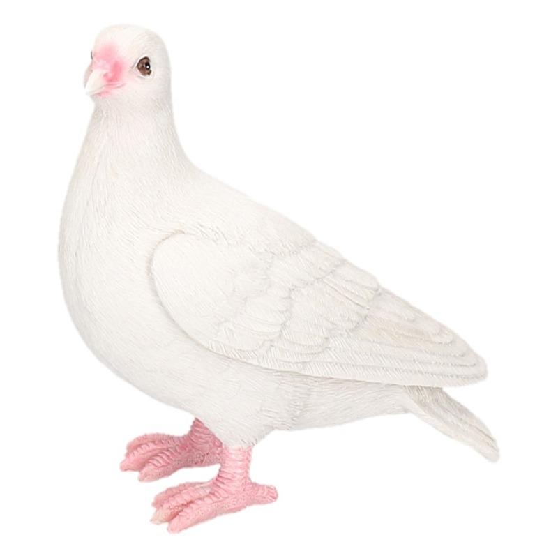 Polystone tuinbeeld witte duif 20 cm