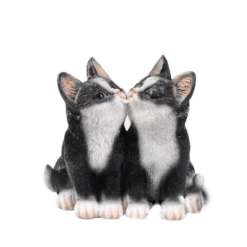 Polystone tuinbeeld zwarte katten/poezen kittens 20 cm