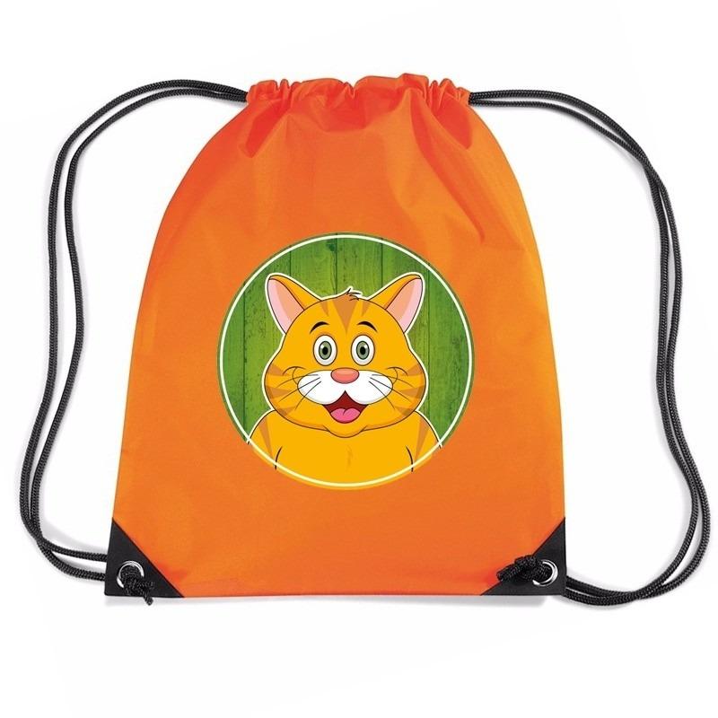Rode kat dieren trekkoord rugzak - gymtas oranje voor kinderen