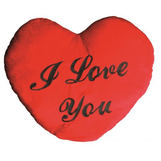 Rood I Love You kussen 60 cm