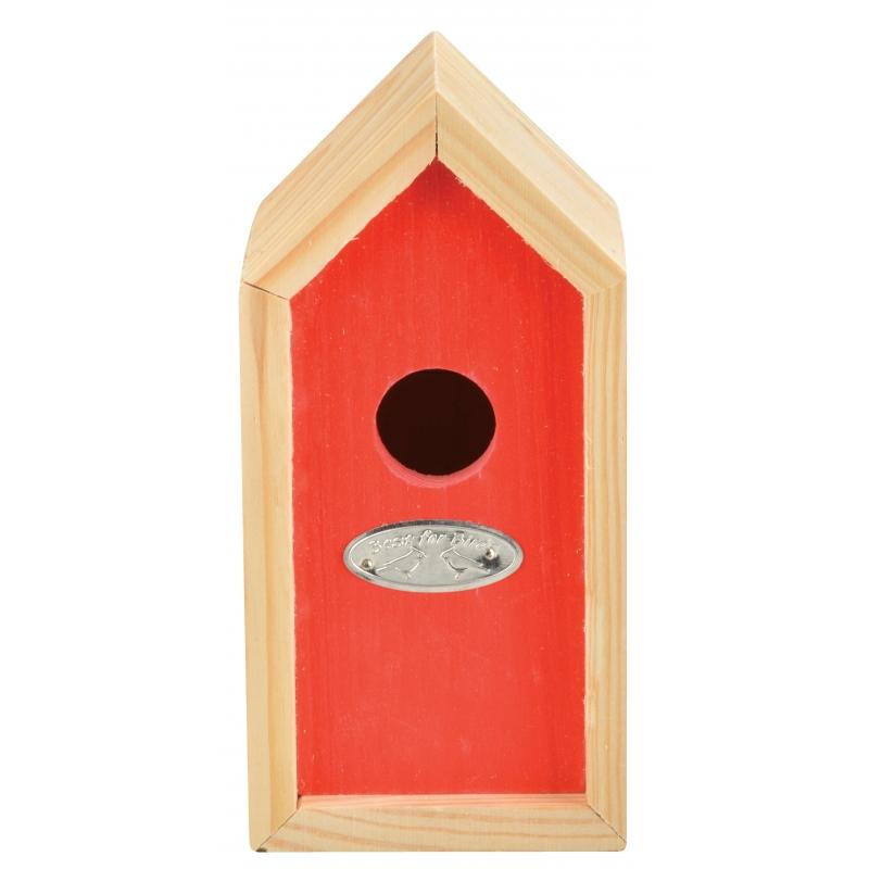 Rood nestkastje voor kleine tuinvogels 10x11x20 cm
