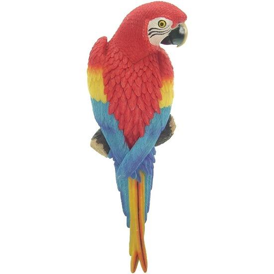 Afbeelding Rood tuindecoratie beeld ara papegaai vogel 31 cm door Animals Giftshop