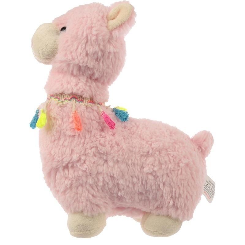 Roze alpaca/lama deurstopper/deurwig 38 cm