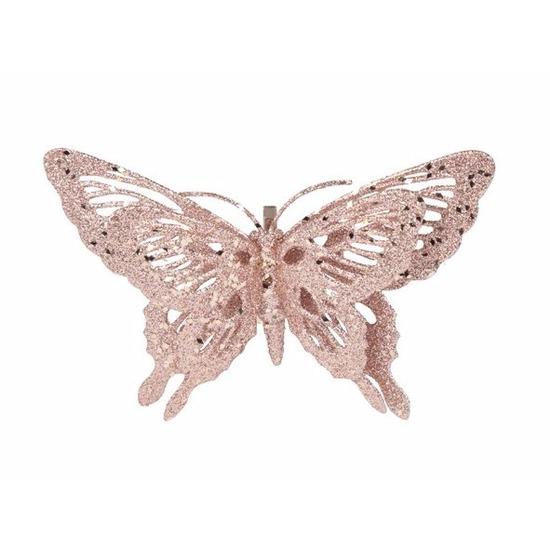 Afbeelding Roze deco vlinder met glitters 15 x 11 cm door Animals Giftshop
