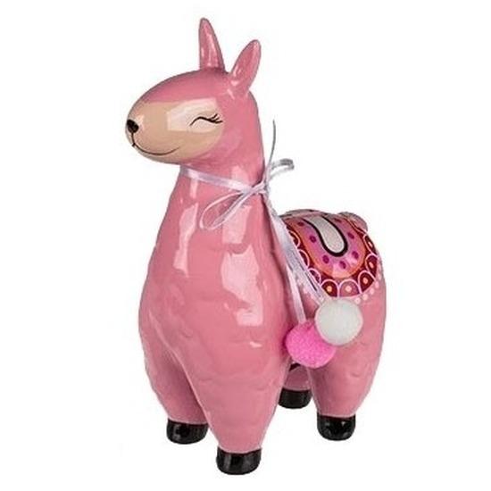 Roze dieren spaarpot alpaca 22 cm
