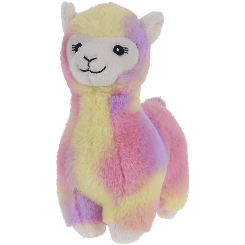 Roze/geel/paarse alpaca/lama knuffeldier 19 cm